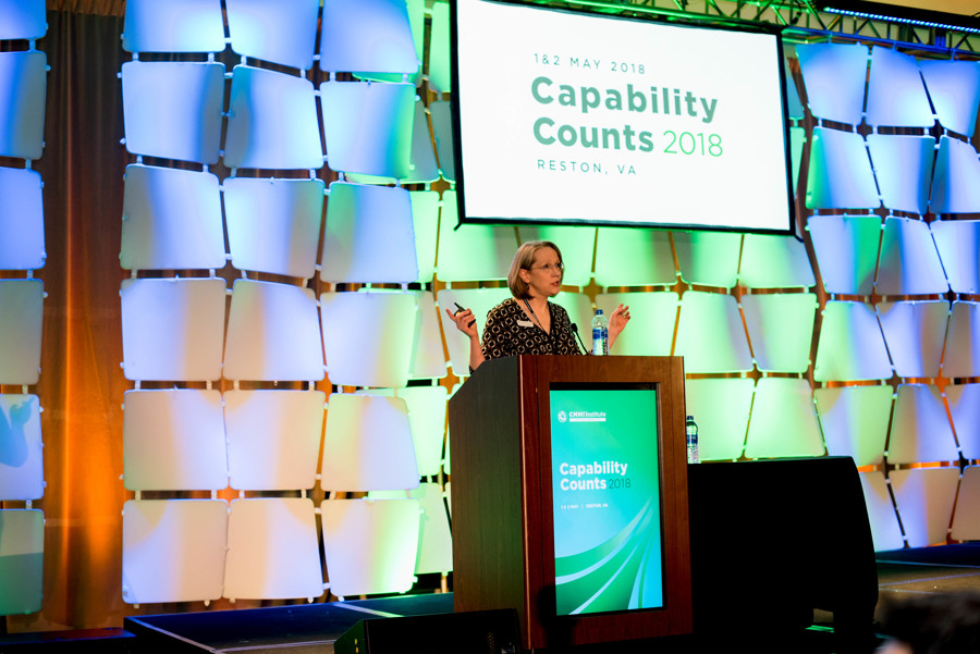 Capability Counts 2018 Program Chair Becky Fitzgerald during Opening Remarks