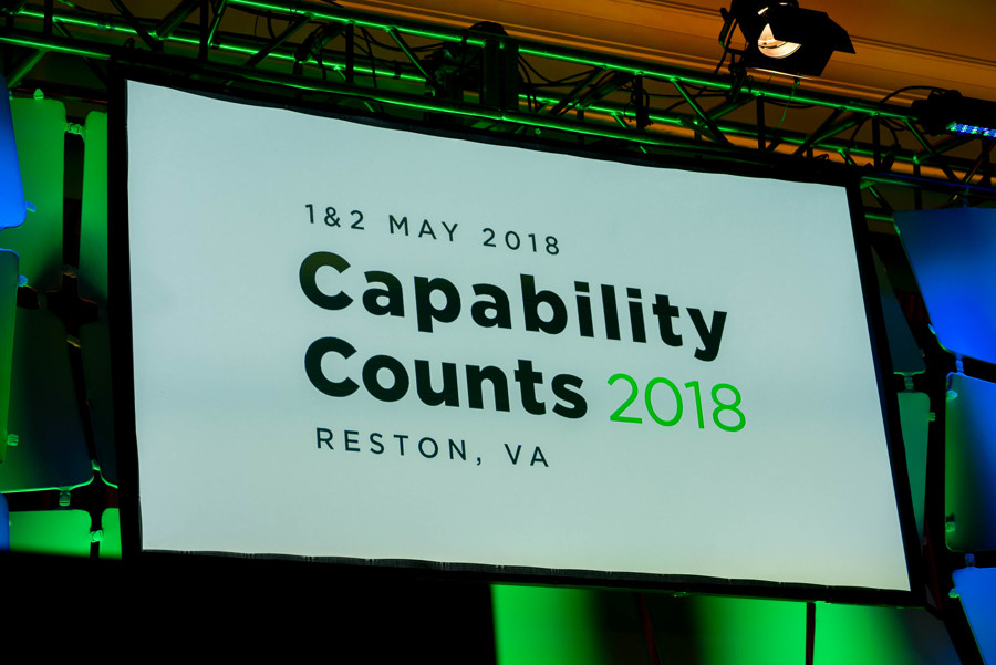 Capability Counts 2018 Main Stage showing conference logo on screen